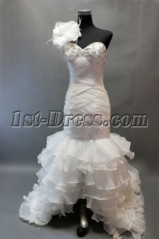 Romantic Ostrich Feathers One Shoulder Layered Mermaid Wedding Dress with Slit