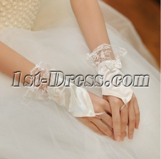 Short Fingerless Wedding Gloves with Bows