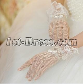 Short Fishnet Lace Wedding Gloves