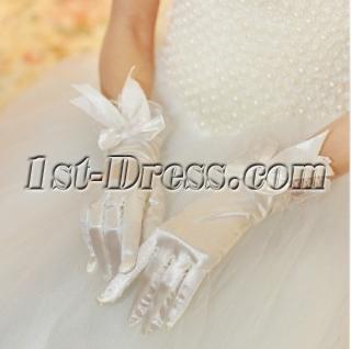 Short Lace Fingertips Gloves Wedding