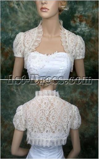 Short Puffed Sleeves Lace Wedding Jacket