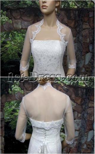 Simple 3/4 Long Sleeves Short Wedding Jacket