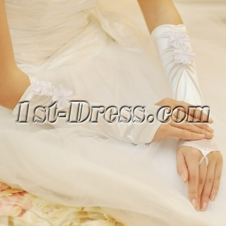 Simple Fingerless Wedding Gloves with Handmade Flowers
