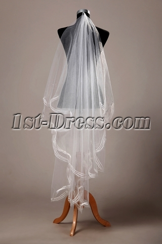 Stunning Two Layers Bridal Veil Tulle Ribbon Edge