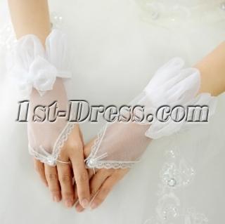 Unique Organza Short Wedding Gloves