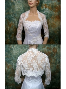 3/4 Length Long Sleeves Lace Wedding Jacket