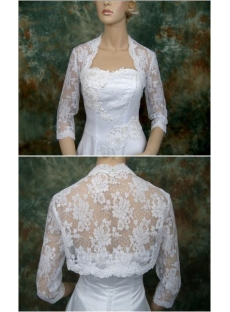 3/4 Length Sleeves Lace Bridal Bolero