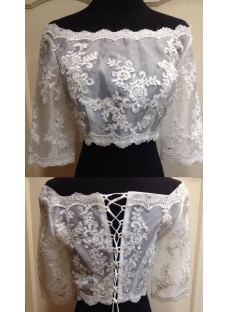 3/4 Long Sleeves Off Shoulder Appliques Lace up Organza Wedding Jacket