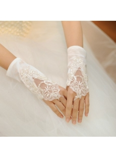 Attractive Short Fingerless Lace Wedding Gloves
