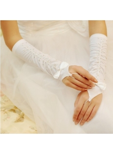 Beaded Fingerless Elbow Ruffle Bridal Gloves