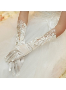 Beaded Lace Wedding Gloves
