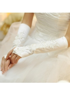 Beautiful Appliques Fingerless Wedding Gloves for Women