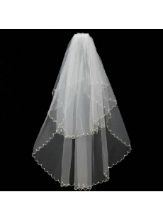 Best Beaded 2 Layers Elbow Veil