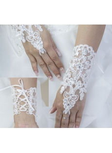 Best Beaded Lace up Wedding Gloves