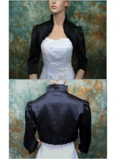 Black 3/4 Long Sleeves Satin Short Bridal Jacket