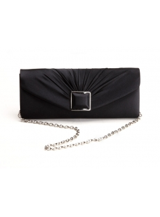 Black Fashionable Satin Clutch Purple Bag