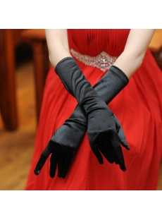 Black Long Prom Dresses Gloves