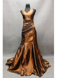 Bronzed Formal Halter Sheath Evening Dress with Train