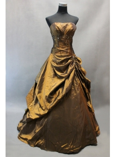 Bronzed Strapless Taffeta Floor Length Quinceanera Dress for 15 Birthday Party