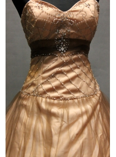 Brown Beaded Sweetheart Long Tulle Military Ball Gown