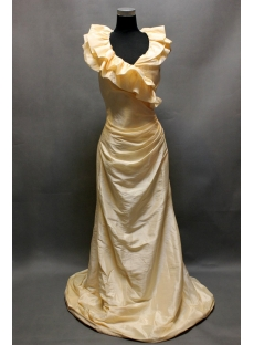 Champagne Ruffled Vintage V-neckline Evening Dress