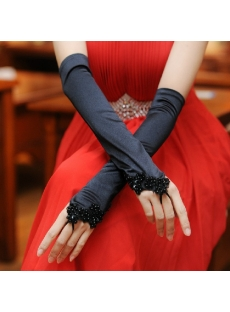 Charming Beaded Black Long Party Gloves