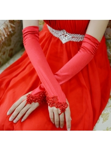 Charming Beaded Red Long Evening Gloves