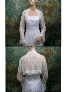 Cheap Butterfly Long Sleeves Lace Wedding Bolero