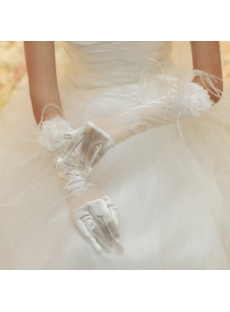 Chic Fingertips Elbow Length Bridal Gloves with Ostrich Feather