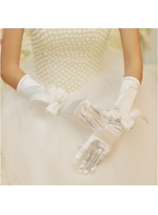 Chic Long Bridal Gloves with Bows