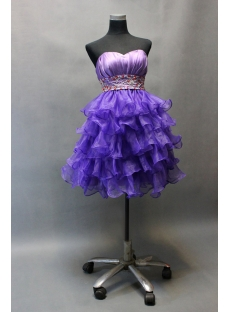 Chic Purple Organza Layered Short Cocktail Dresses