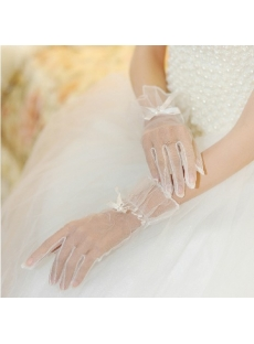 Chic Short Illusion Wedding Gloves for Beach
