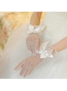 Classic Short Bows Fishnet Fingertips Gloves Wedding