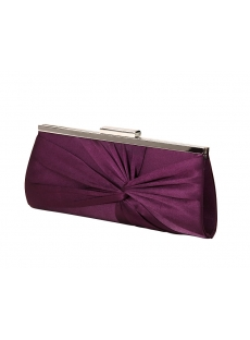 Dark Purple Satin Evening Handbag