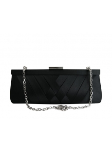 Elegant Black Satin Clutch Bag