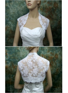 Elegant Short Lace Wedding Jacket with Cap Sleeves