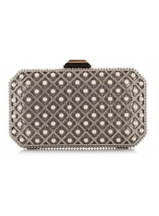 Exquisite Hollowed-out Diamond and Pearl Handbag