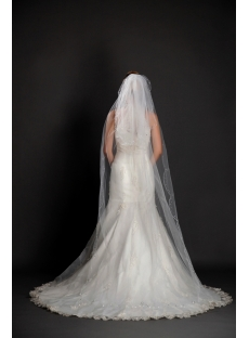 Fashionable 2 Layered Beaded Edging Cathedral Wedding Veils
