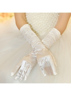 Graceful Ruffled Fingertips Elbow Length Bridal Gloves