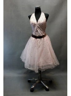Halter Beaded Pink Tulle Cocktail Dress