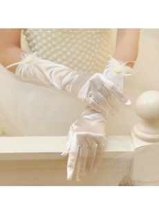 Ivory Wedding Gloves Bridal Gloves with Handmade Flowers