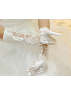 Lace Appliques Long Wedding Gloves