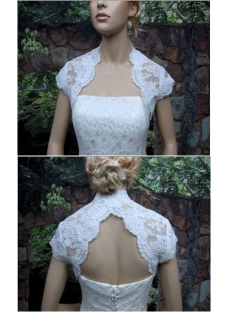 Lace Cap Sleeves Short Wedding Jacket with Keyhole