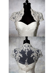 Luxury Beaded Cap Sleeves Wedding Jacket