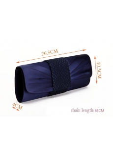 Navy Blue Hollowed-out Satin Party Handbag