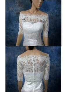 Off Shoulder 1/2 Length Wedding Jacket with Buttons
