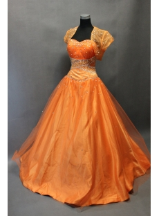 Pretty Orange Organza Long Quinceanera Dress with Bolero