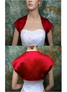 Red Satin Cap Sleeves Short Bridal Bolero