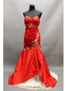 Red and White Taffeta Sweetheart Mermaid Wedding Gowns with Train