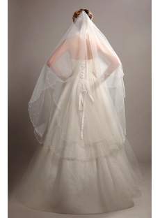 Romantic 2 Layers Wedding Veils with Pearls